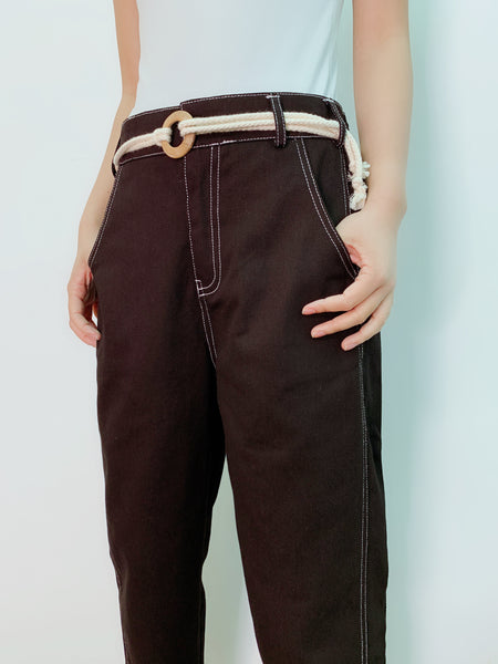 1907036 DD white stitches pants