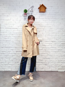 1909065 AR back pleated trench coat