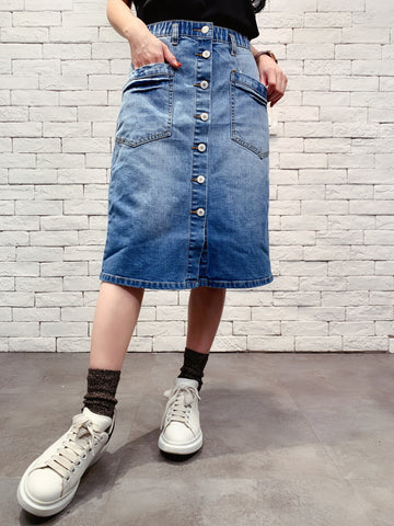 1910022 KU buttons denim skirt