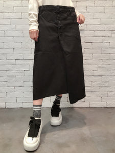 1911026 VI buttons wrap black skirt