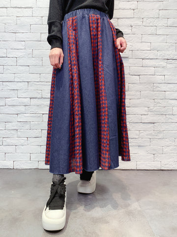 1911005 DD check patchwork denim skirt