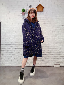 1911023 DD dots quilted hood coat