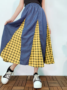 1904043 SW check patchwork skirt