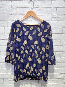 2001029 DD bi-colour leaf lace top - Navy
