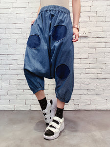 1909088 JF dots patchwork denim baggy pants
