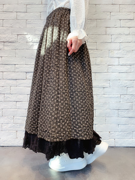 1910042 JF floral lace maxi skirt