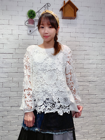 1909004 JF lace floral layer top