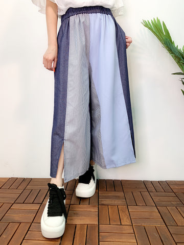 1907122 DD mixed fabric denim pants