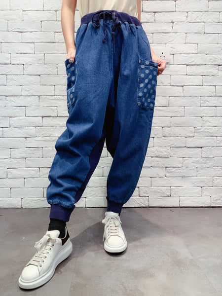 1910064 MI dots pockets denim pants