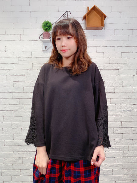 1910051 DD lace sleeves patchwork top