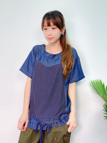 1908053 DD stripes denim top