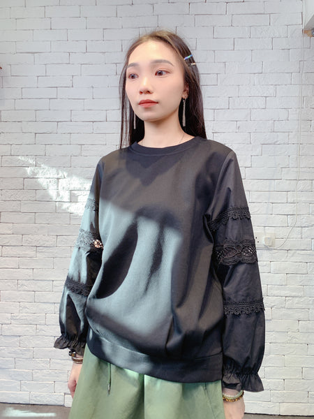 1910050 DD lace border sleeves top