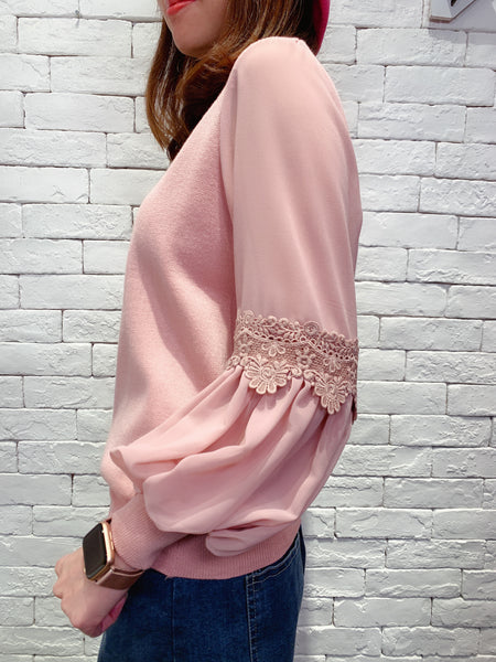 1911051 DD chiffon lace sleeves knit top