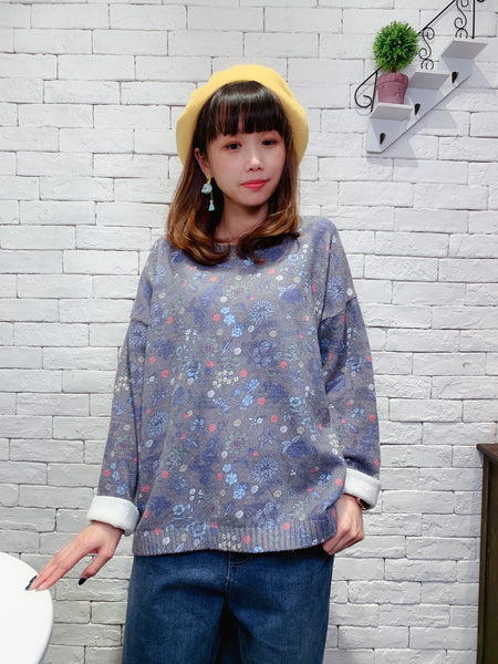 1911055 MI plant pattern knit top