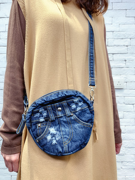 1910080 TM round denim bag