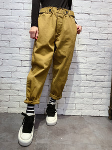 1912009 DD two buttons elastic band pants