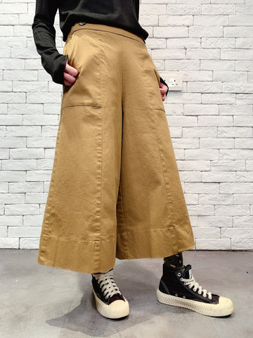 1911011 DD button waist crop pants
