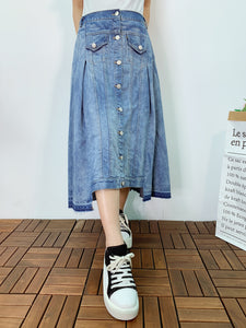1906060 AR button line vintage denim skirt
