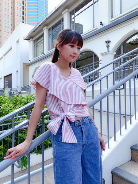 1908011 JF striped ruffle layer top