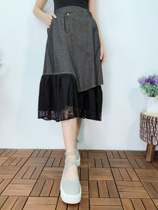 1904003 DD bottom lace denim skirt