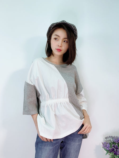 1904037 DD side ruffle patchwork top