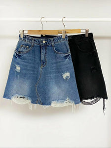 2009067 KR Denim Skirt - BLACK