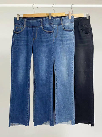 2009069 KR Irregular Opening Denim Pants - NAVY