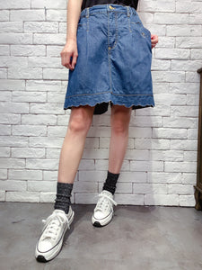 2006006 DR embroidered bear denim culottes BLUE