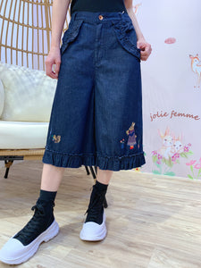 2101083 DR Ruffles Embroidery Denim Pants - Navy - XL