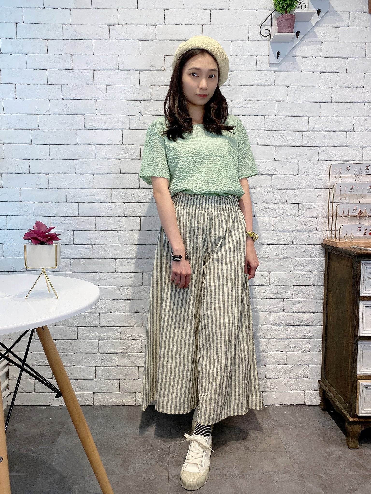 2007027 MMO striped wide  pants - WHITE