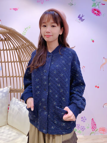 2011012 JP Quilted Floral Jacket - Navy