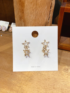 1401PA001 Layered Stars Pierced Earrings