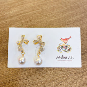 1401PA015 KR Pave Ribbon Dangling Pearl Earrings