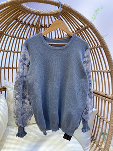 2011151 JF Lace Sleeves Knit Top - GREY