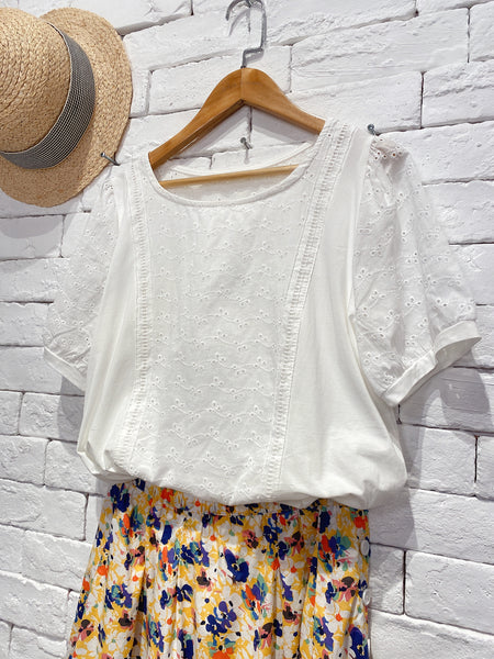 2006093 JF lace patchwork top - WHITE