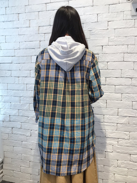 2009015  JF removable hood checked long shirt  - BLUE