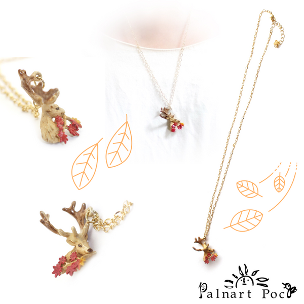 1003NE441 Palnart Poc - Deer in Autumn Leaves Necklace