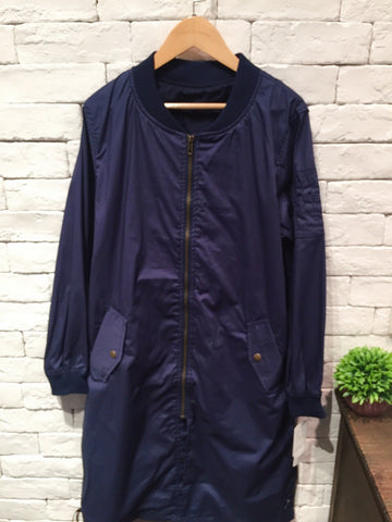 2001063 DA long colour blouson -NAVY