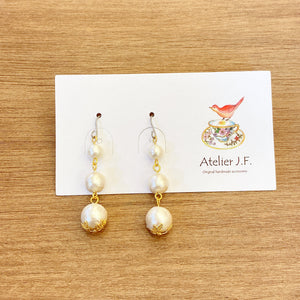 VIPA001  JP VI Links of Cotton Pearls Earrings