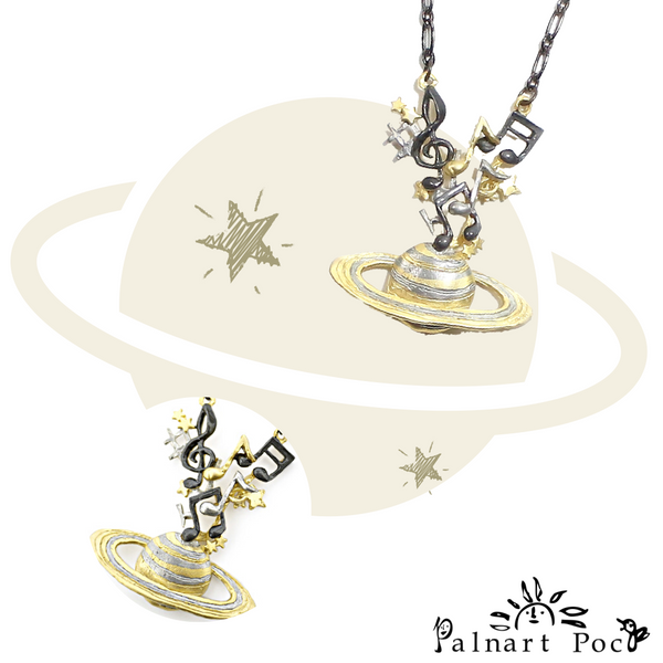 1002NE151 Palnart Poc - Sound Saturn Necklace
