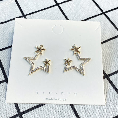 NNPA002 Outline Twin Stars Earrings