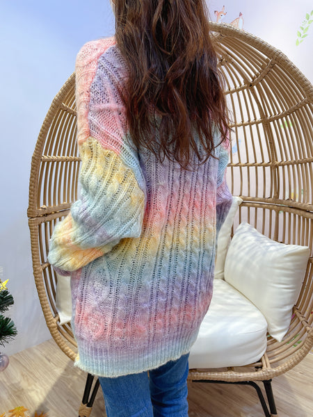 2012034 KR Mixed Colour Cable Knit Cardigan