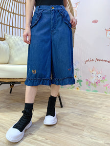 2101083 DR Ruffles Embroidery Denim Pants - Blue - M