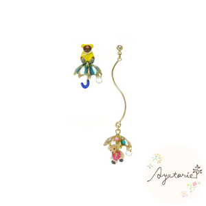 1101AY375 Ayatorie Teddy in the Rain Earrings