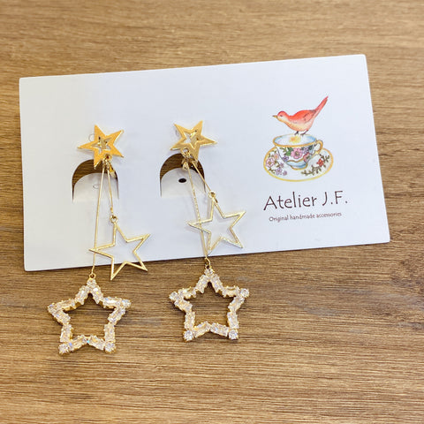 1401PA013 KR Stars Layered Dangling Earrings