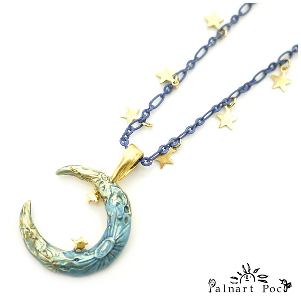 1002NE318 Palnart Poc - Crescent Moon Necklace