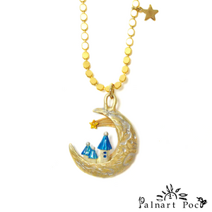 1002NE376 Palnart Poc - Castle in the Moon Necklace