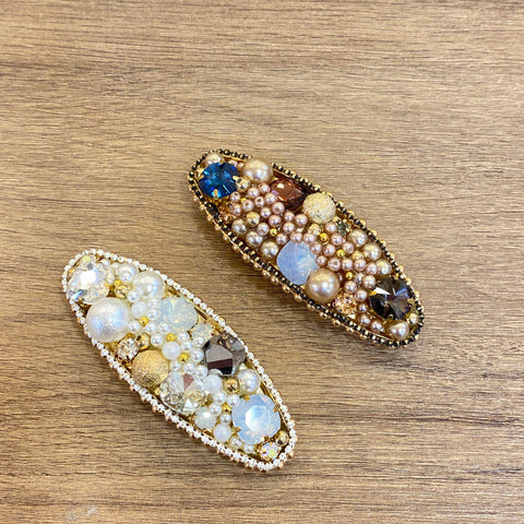 1405HA027 KR Vintage Pearls and Crystal Oval hair Clip