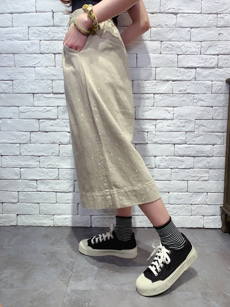 2006044 JP dots wide pants - BEIGE