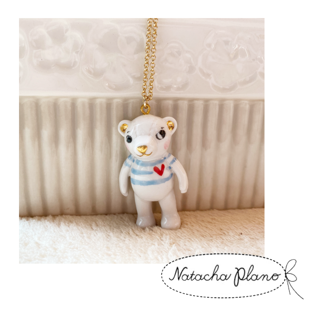 1202NE03 Natacha Plano Teddy Bear Porcelain Necklace - Border Tee
